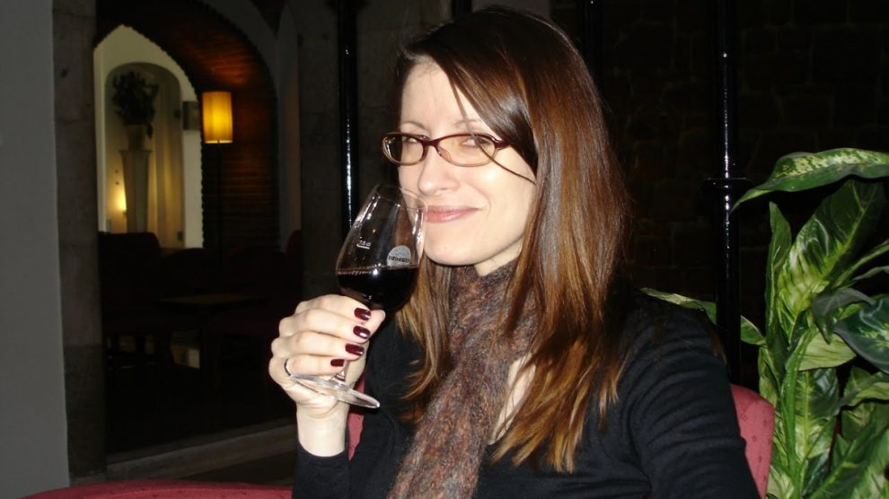 Heather with glass