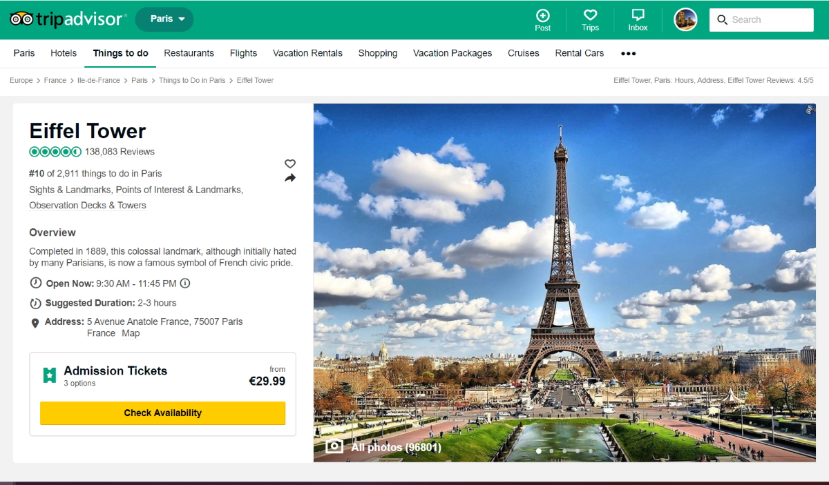 TripAdvisor Eiffel Tower Screenshot