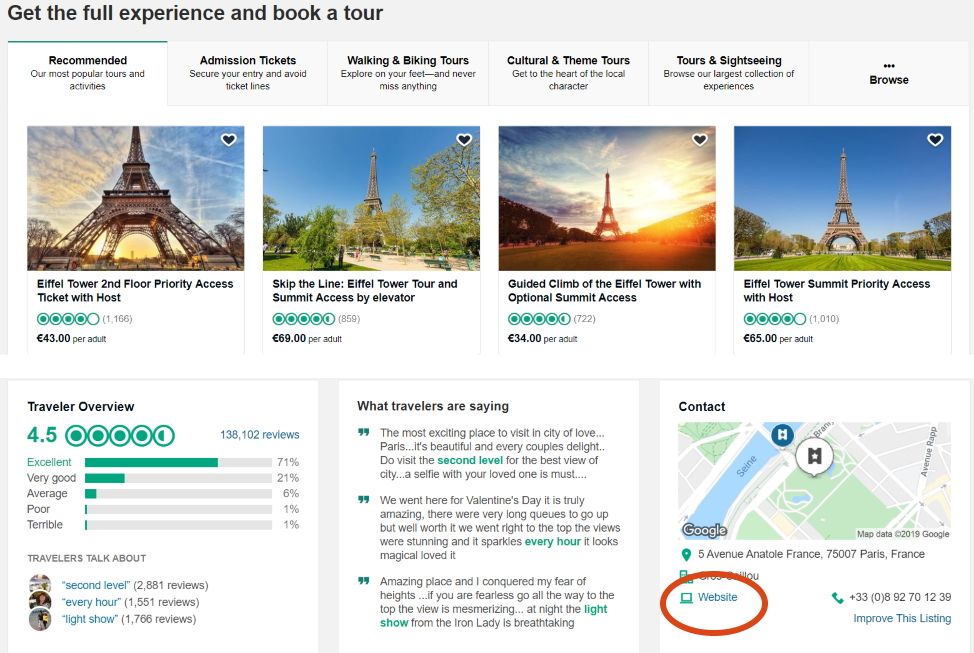 TripAdvisor Eiffel Tower Screenshot 2