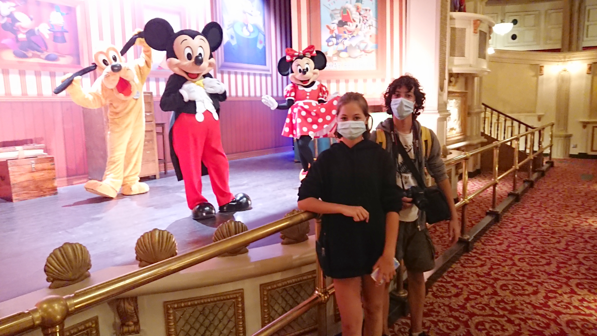 The Twins with Mickey, Minnie and Pluto